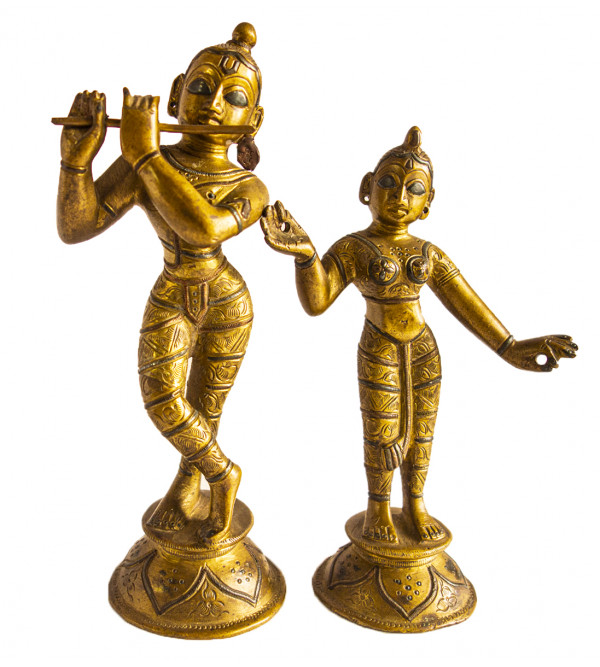 Radha Krishna Handcrafted In Brass Size 7X2.5 Inches