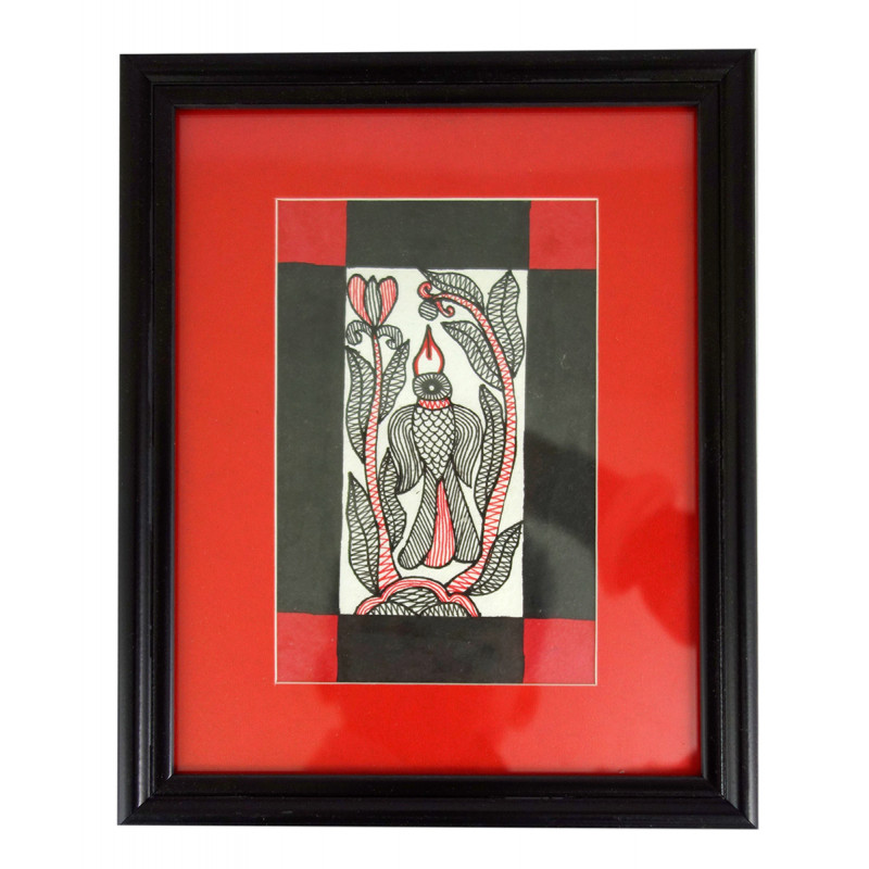 HANDICRAFT ASSORTED MADHUBANI PAINTING 2X6 INCH WATER COLOUR WITH FRAME