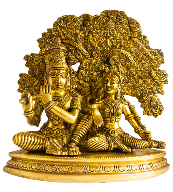 CCIC HANDICRAFT BRASS RADHA KRISHNA SITTING WITH TREE ON BOAT SHAPE BASE FINE 12X12  Inch