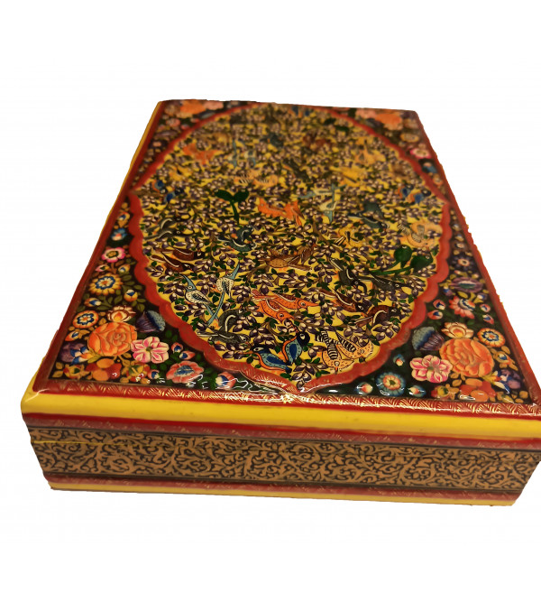 Hand crafted Papier Mache Box with Real Gold Painting