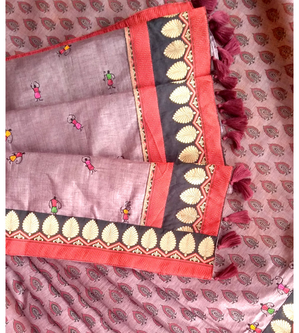 HANDLOOM SILK MATKA NOIL SAREE  WITH BLOUSE
