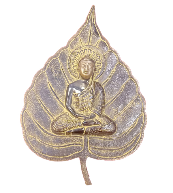 Brass Handcrafted Buddha in Leaf Antique Finish 10inch