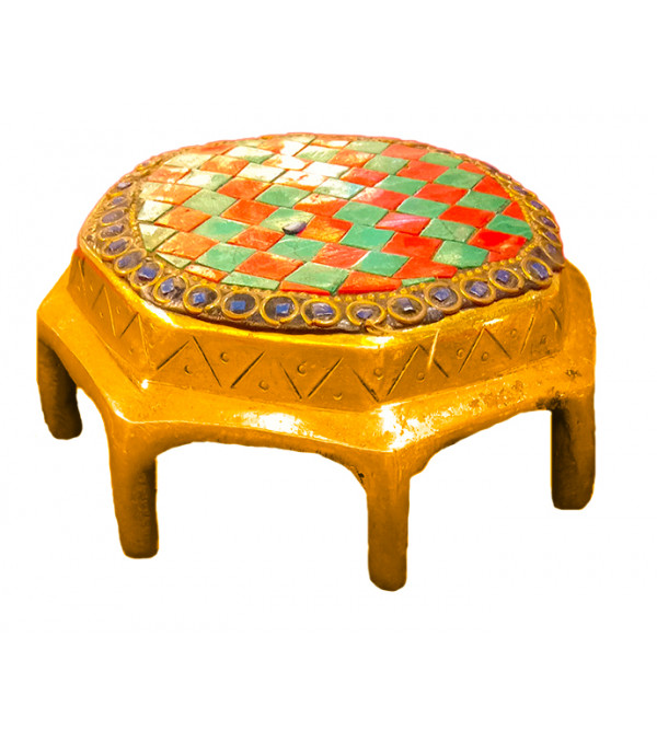 Brass Handcrafted Chowki  With Stone work 5inch