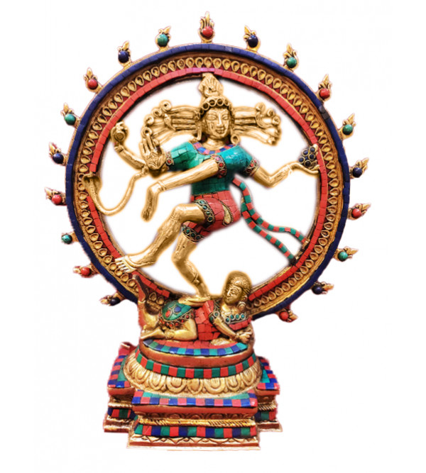 Brass Handcrafted Natraj With Stone 18inch