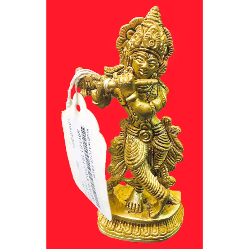 Krishna Handcrafted In Brass Size 5 Inches