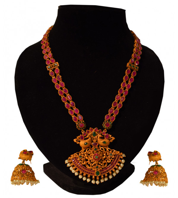 NECKLACE METAL KUNDAN gold plated set ruby empearl