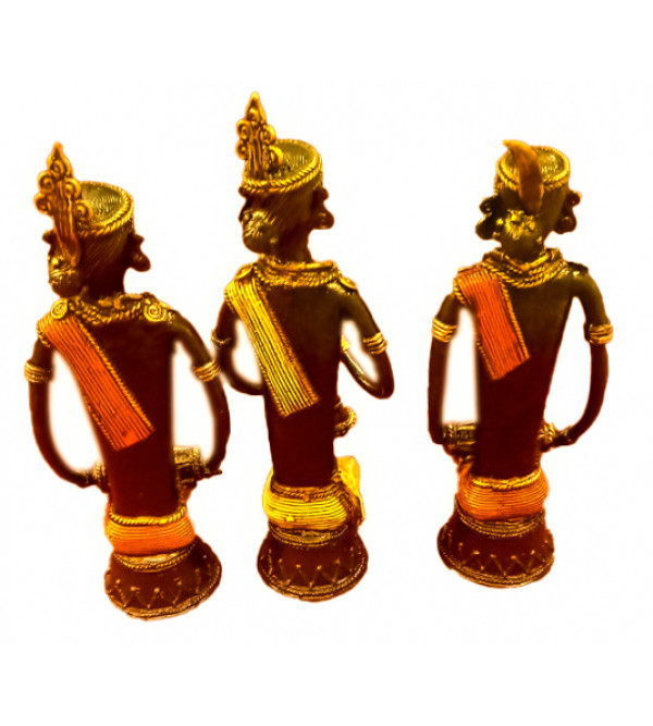 Tiranga Musicians Handcrafted In Dhokra Set Of 3 Size 8 Inches