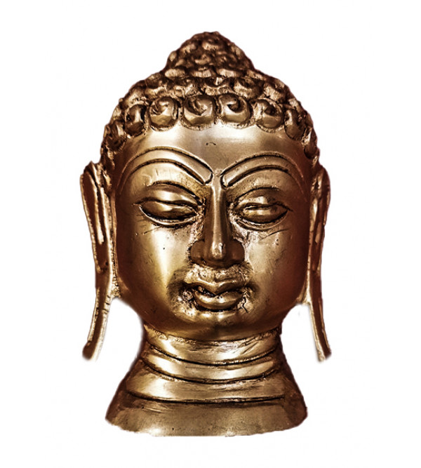 Buddha Head Handcrafted In Brass Size 4 Inches