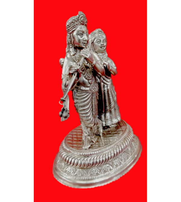 Handicraft Silver Radha Krishna 7x5.5 Inch