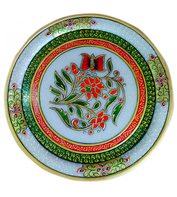 Marble Plate Handcrafted With Pure Gold Leaf Work