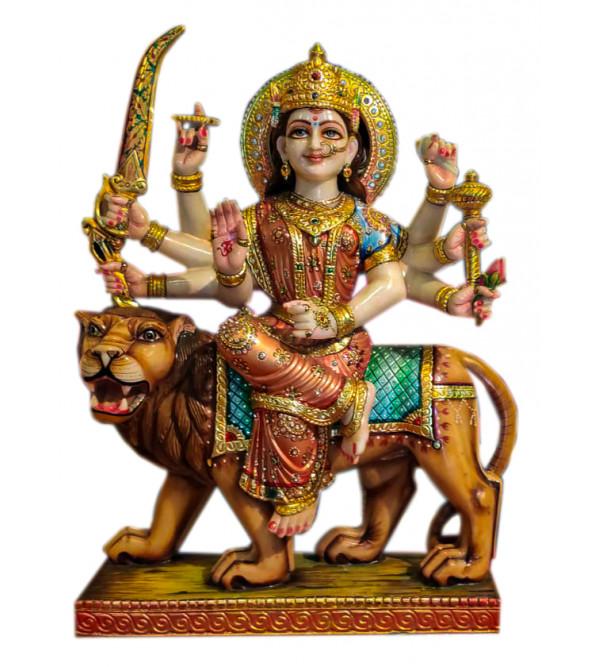 Marble Durga Ji With Gold Leaf Work