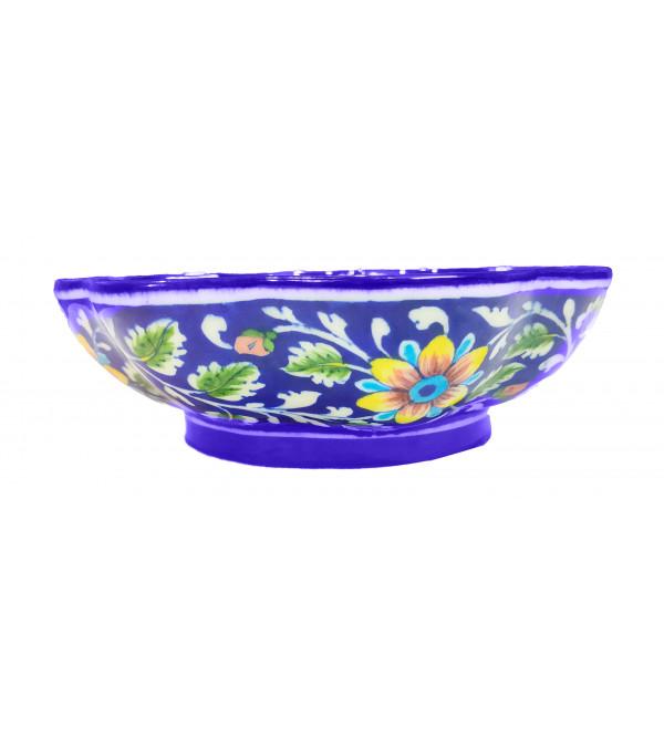 CCIC Handicraft Blue Pottery Bowl 8 Inch