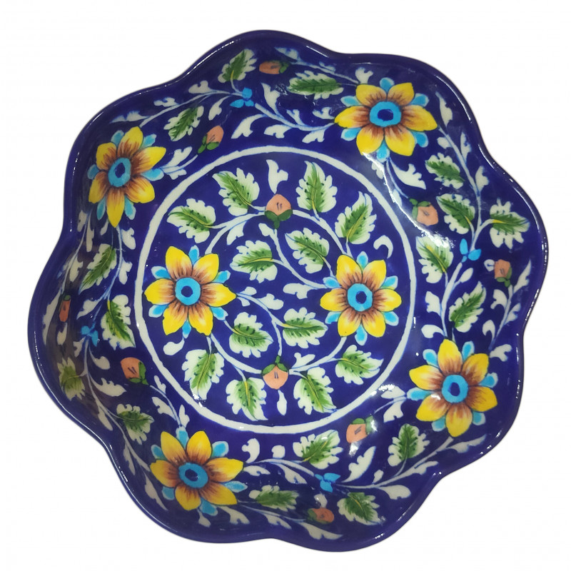 CCIC Handicraft Blue Pottery Bowl 8 Inch
