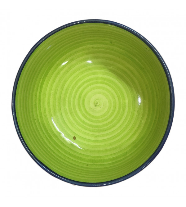 Khurja Pottery Bowl With Soup Spoon Size 4.5 Inch
