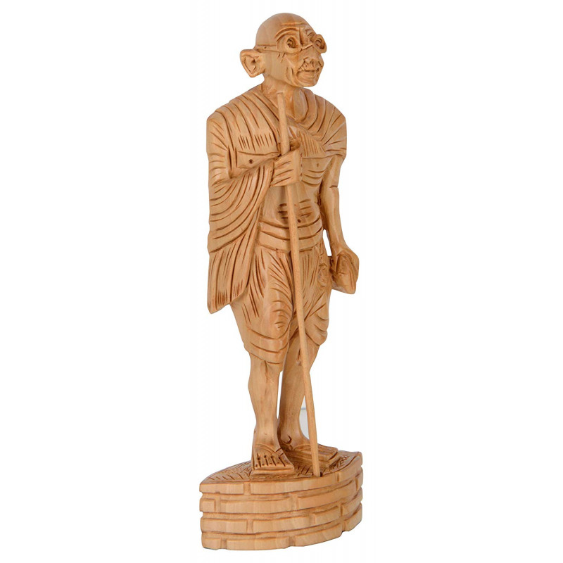 GANDHI STANDING CARVED KADAM WOOD