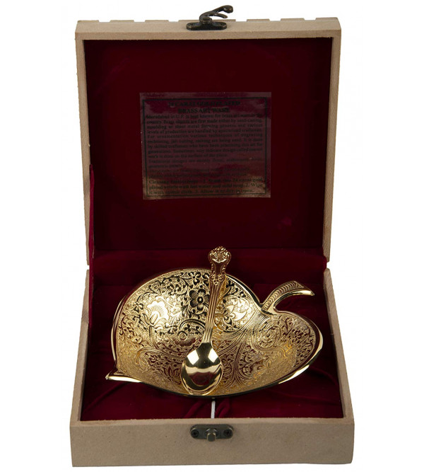 7 Inch Leaf Pipal Bowl with spon and Box