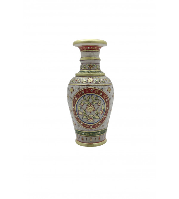 7X3.5 Inch FLOWER VASE MARBLE Real Gold work
