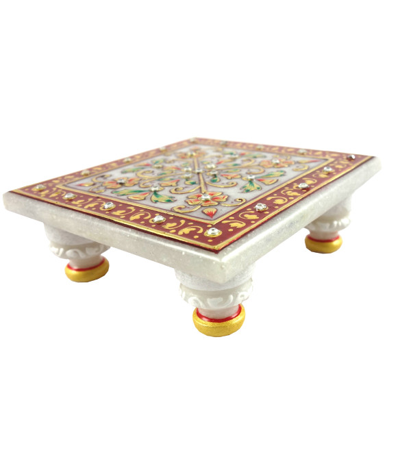 HANDICRAFT MARBLE CRAFT 4X4INCH  CHOWKIE FLORAL WORK  WITH REAL GOLD