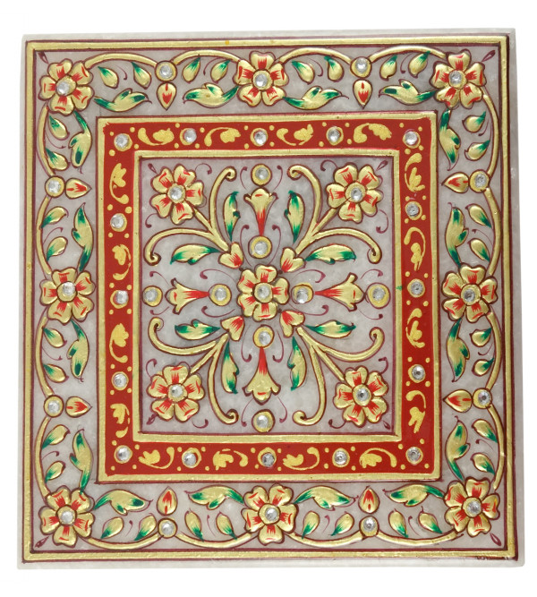 HANDICRAFT MARBLE CRAFT 5X5 INCH CHOWKIE FLORAL WORK  WITH REAL GOLD