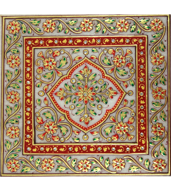 HANDICRAFT MARBLE CRAFT 7X7 INCH CHOWKIE FLORAL WORK  WITH REAL GOLD