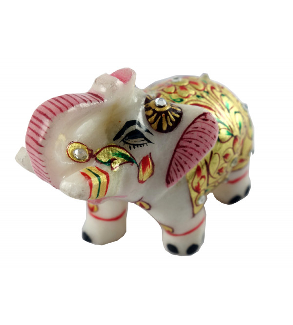 HANDICRAFT MARBLE CRAFT ELEPHANT REAL GOLD WORK 2 INCH