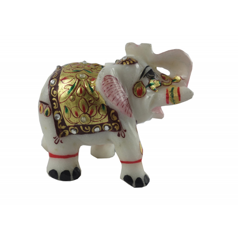 HANDICRAFT MARBLE CRAFT ELEPHANT REAL GOLD WORK 2.5 INCH