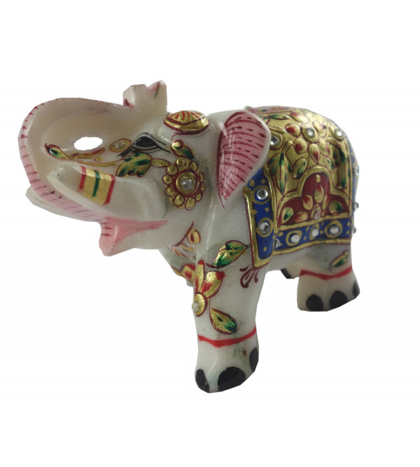 HANDICRAFT MARBLE CRAFT ELEPHANT REAL GOLD WORK 3 INCH