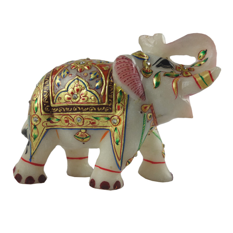HANDICRAFT MARBLE CRAFT ELEPHANT REAL GOLD WORK 5 INCH