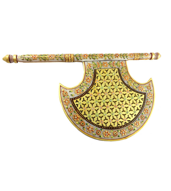 Marble Craft Fan Handcrafted With Pure Gold Leaf Work Size 15X9 Inches