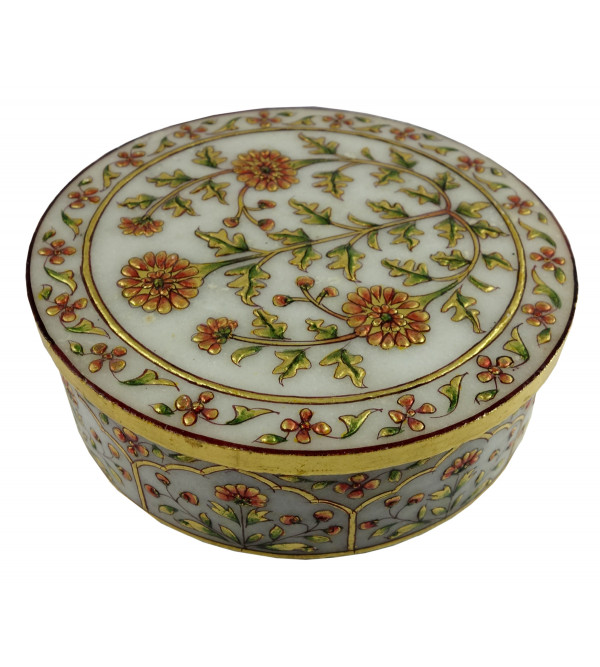 HANDICRAFT MARBLE CRAFT ROUND FLORAL BOX 6 INCH REAL GOLD WORK