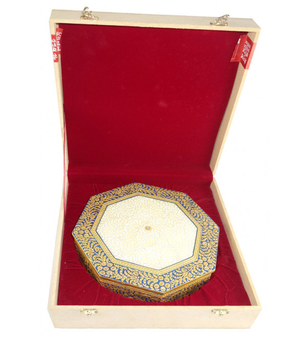 HANDICRAFT MARBLE CRAFT  8 INCH BOX ROUND FLORAL WORK  WITH REAL GOLD