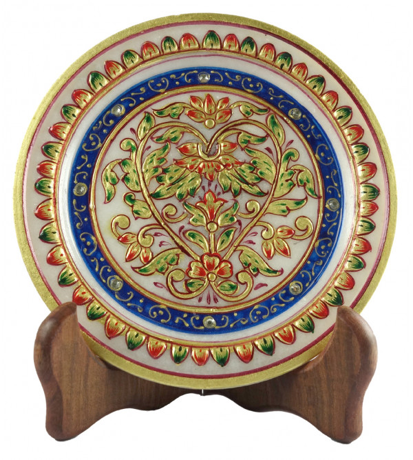 HANDICRAFT GOLD LEAF WORK MARBLE PLATE 6 INCH