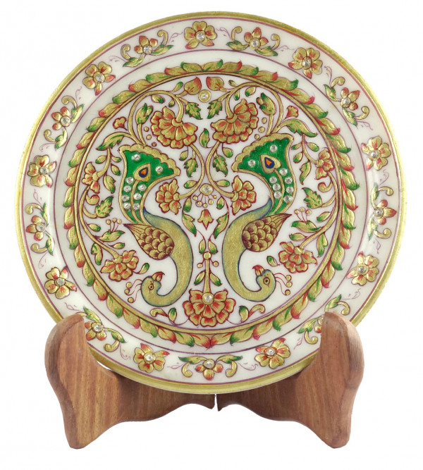 HANDICRAFT GOLD LEAF WORK PLATE 7 Inch MARBLE