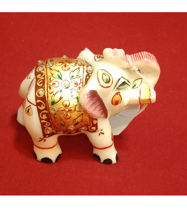 Elephant Handcrafted With Pure Gold Leaf Work Size 2.5 Inches