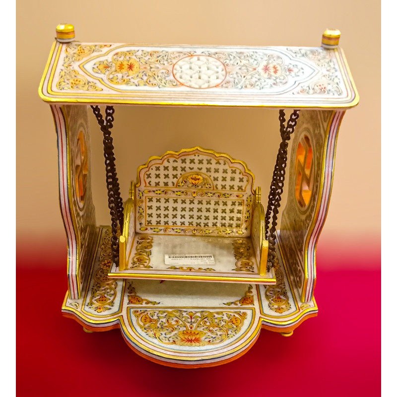 Marble Jhoola Handcrafted With Pure Gold Leaf Work Size 12 Inches