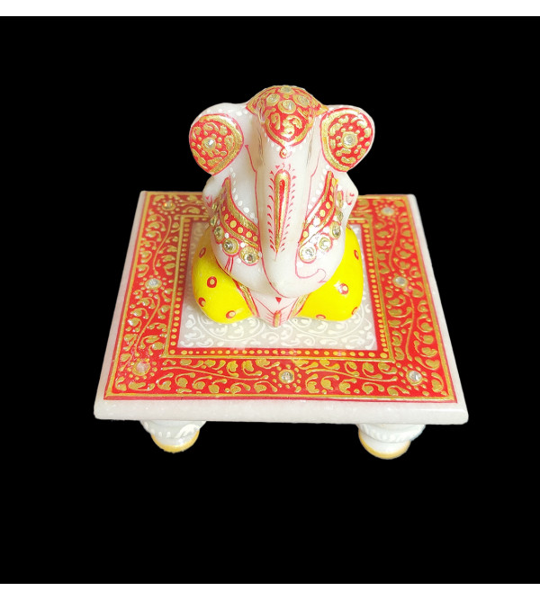 2 GANESHJICHOWKIE SET MARBLE SIMPLE  WORK WITH REAL GOLD
