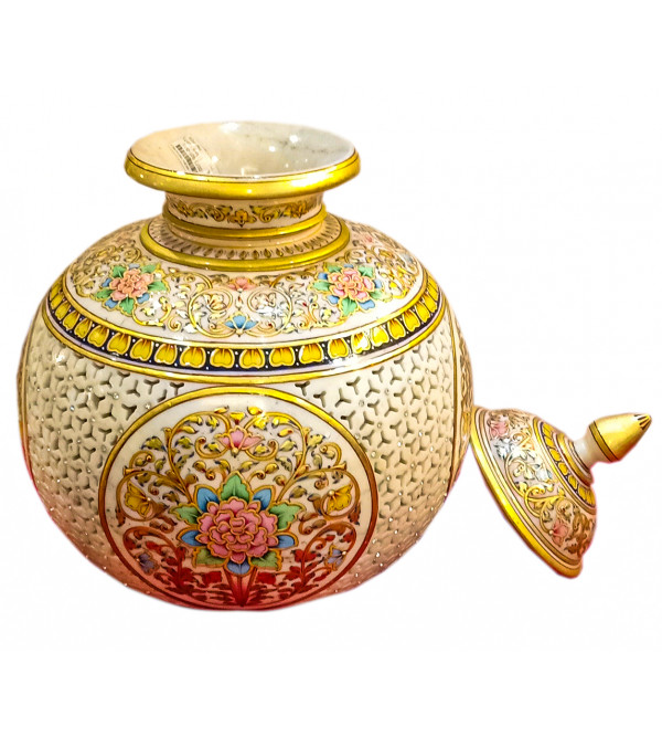 13X11MATKA WITH LID FINE WORK WITH REAL GOLD
