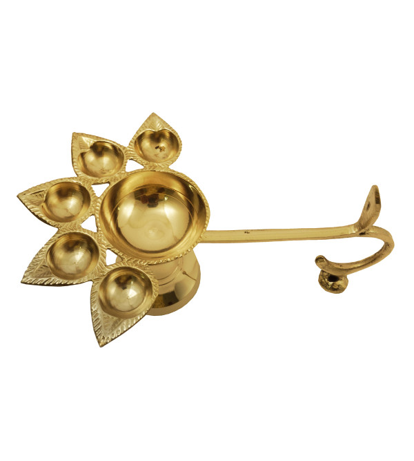Handicraft Brass Panch Aarti Diya Plain 6 Inch