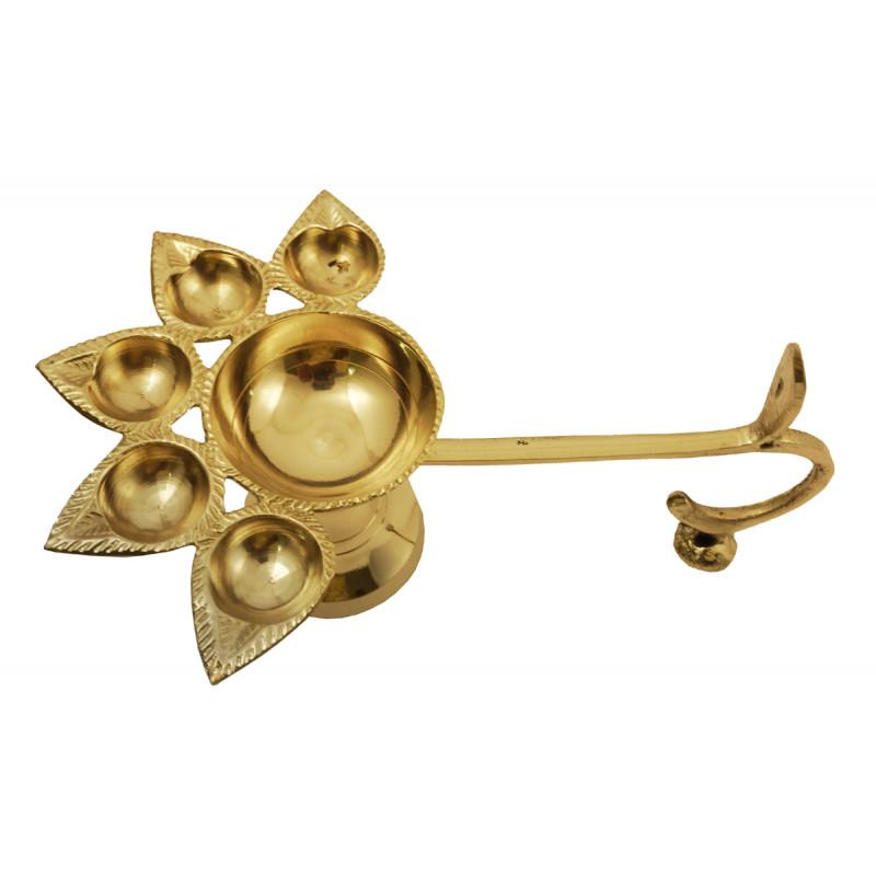 Handicraft Brass Panch Aarti Diya Plain 6 Inch