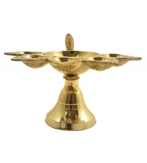 Hanidcraft Brass Plain Panch Aarti Diya 5 Inch