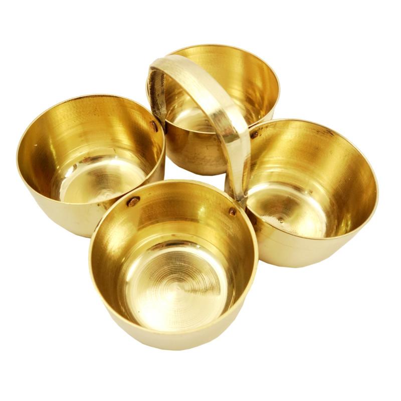 Handicraft Brass Chokda Diya 4.5 Inch
