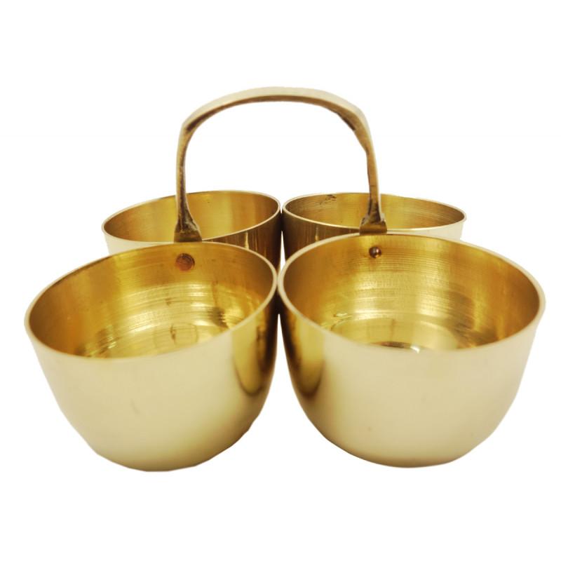 Handicraft Brass Chokda Diya 5 Inch