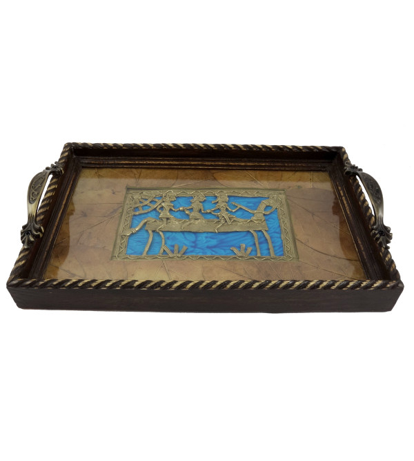 HANDICRAFT WOODEN TRAY DHOKRA ART 12X8 INCH