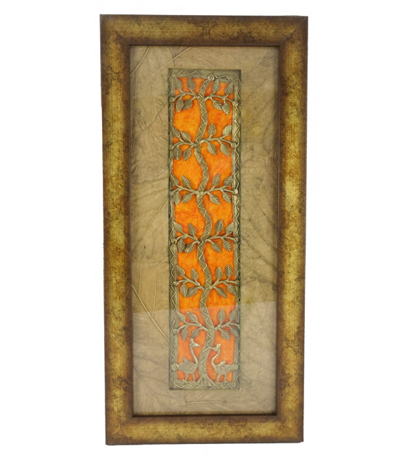 HANDICRAFT DHOKRA PANEL LEAF MOUNT  4X15 INCH