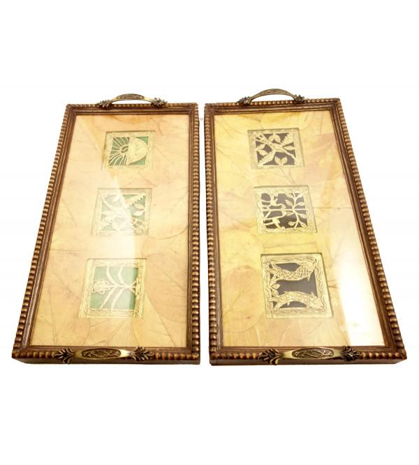 Handicraft Brass Tray Assorted Dhokra Art 18x9 Inch