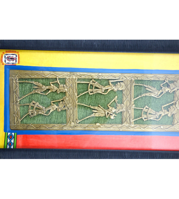 HANDICRAFT PINE WOOD DHOKRA PAINTING WORLI FRAMED 19X8X2.5 INCH