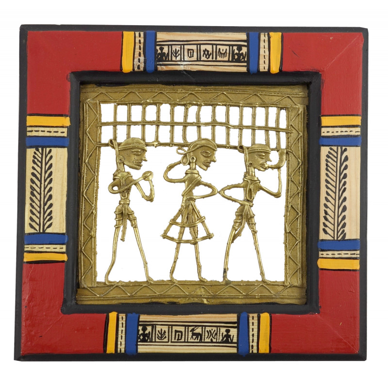 Dhokra Panel Handcrafted With Pine Wood Painting Framed Size 8.5X8.5 Inches