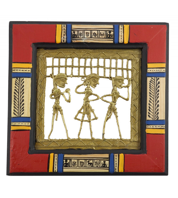 HANDICRAFT PINE WOOD PAINTING DHOKRA WORLI FRAMED 8.5X8.5X5 INCH