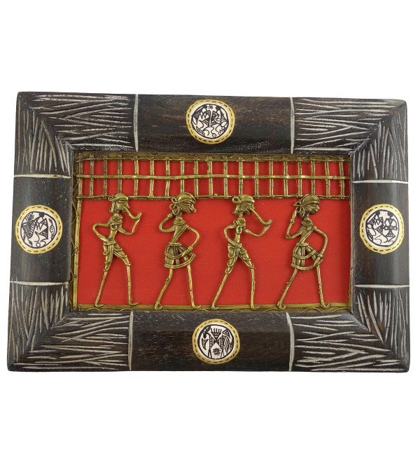 HANDICRAFT PINE WOOD BASTAR DHOKRA PAINTING WORLI FRAMED 7X10X0.5 INCH