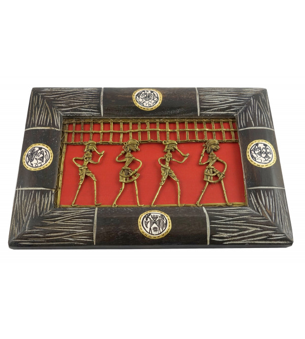 HANDICRAFT PINE WOOD DHOKRA PAINTING WORLI FRAMED 7X10X0.5 INCH